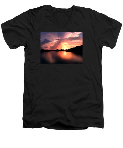 Sunburst At Edmonds Washington Men's V-Neck T-Shirt by Eddie Eastwood
