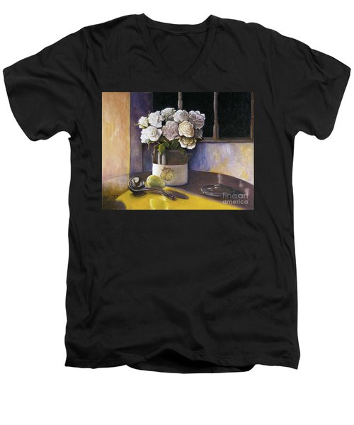 Men's V-Neck T-Shirt featuring the painting Sunday Morning And Roses Redux by Marlene Book