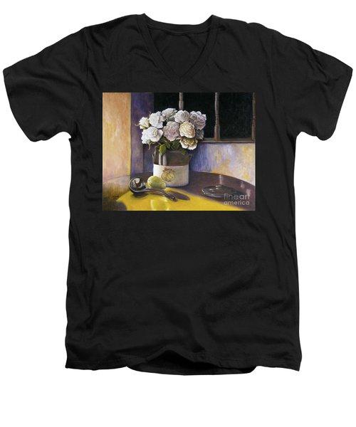 Sunday Morning And Roses Redux Men's V-Neck T-Shirt