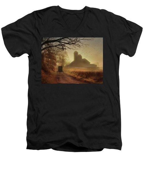 Sunday Morning Men's V-Neck T-Shirt by Lori Deiter