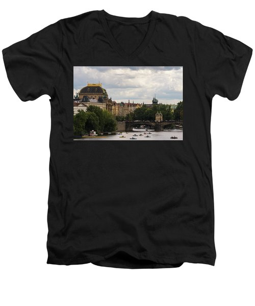 Men's V-Neck T-Shirt featuring the photograph Sunday On The Water by Alex Lapidus