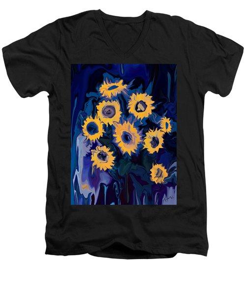 Sunflower 1 Men's V-Neck T-Shirt by Rabi Khan