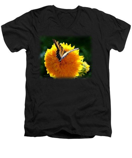 Swallowtail On Sunflower Men's V-Neck T-Shirt by Korrine Holt