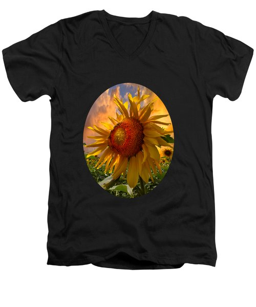 Men's V-Neck T-Shirt featuring the photograph Sunflower Dawn In Oval by Debra and Dave Vanderlaan