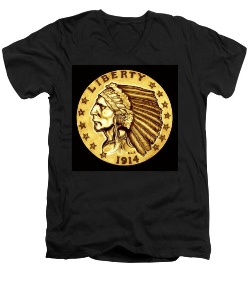 Sunflower Gold Quarter Eagle Men's V-Neck T-Shirt by Fred Larucci