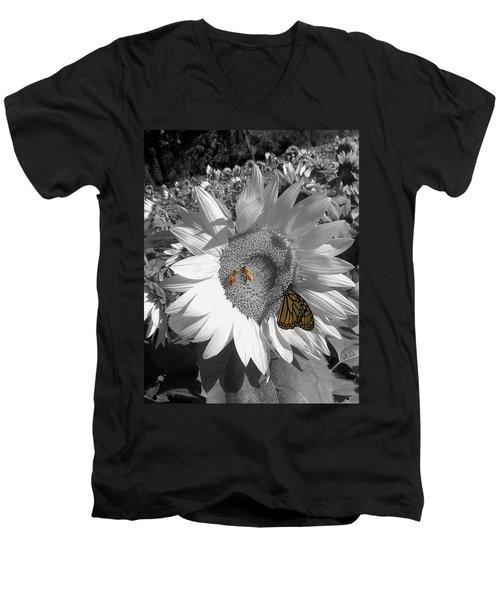 Sunflower In Black And White Men's V-Neck T-Shirt
