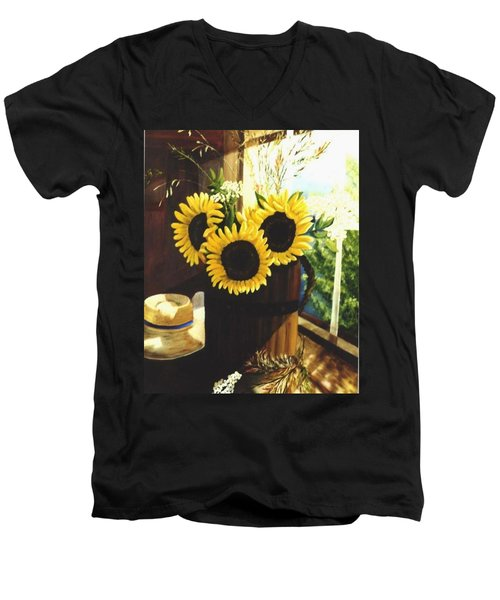 Men's V-Neck T-Shirt featuring the painting Sunflower Sill by Renate Nadi Wesley