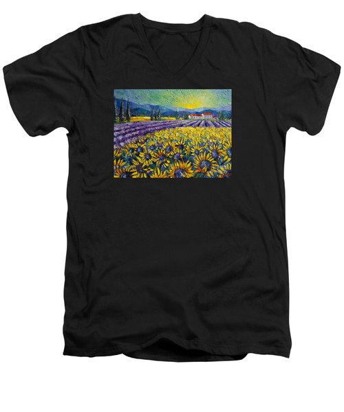 Sunflowers And Lavender Field - The Colors Of Provence Modern Impressionist Palette Knife Painting Men's V-Neck T-Shirt