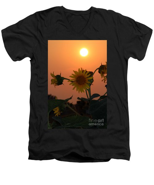 Men's V-Neck T-Shirt featuring the photograph Sunflowers At Sunset by Kathy  White