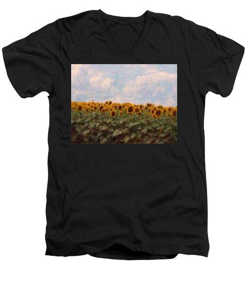 Sunflowers Men's V-Neck T-Shirt by Robin Regan