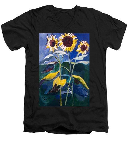 Sunflowers Standing Tall Men's V-Neck T-Shirt by Betty Pieper