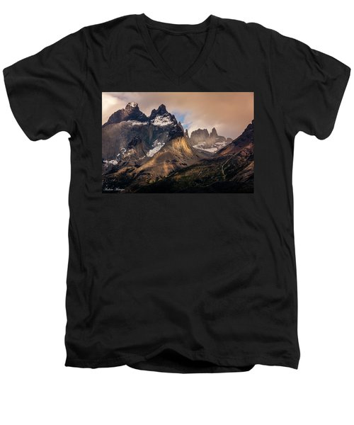 Men's V-Neck T-Shirt featuring the photograph Sunlight On The Mountain by Andrew Matwijec
