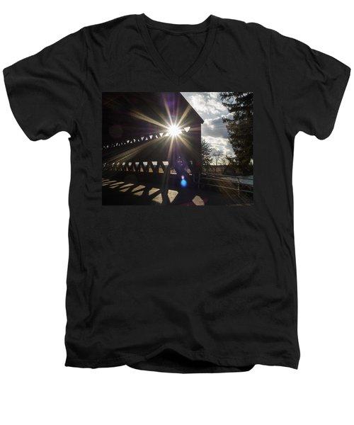 Sunlight Through Sachs Covered Bridge  Men's V-Neck T-Shirt