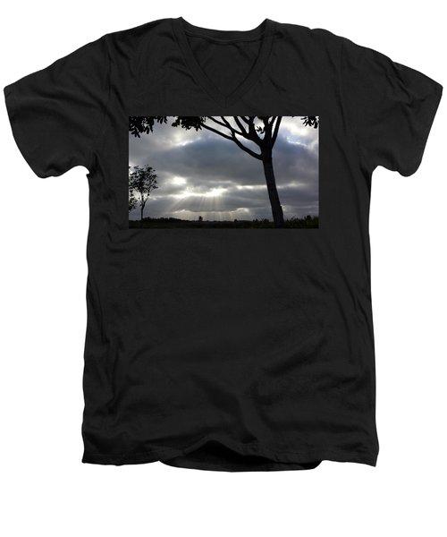 Sunlit Gray Clouds At Otay Ranch Men's V-Neck T-Shirt by Karen J Shine