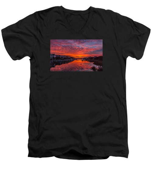 Men's V-Neck T-Shirt featuring the photograph Sunlit Sky Over Morgan Creek -  Wild Dunes On The Isle Of Palms by Donnie Whitaker