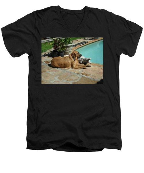 Sunning Men's V-Neck T-Shirt by Val Oconnor