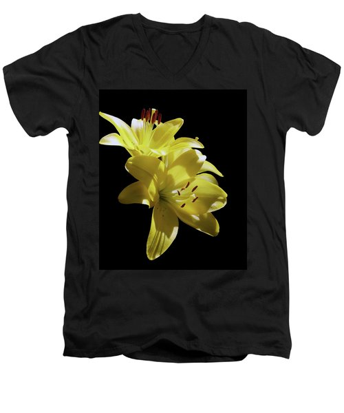 Sunny Yellow Lilies Men's V-Neck T-Shirt