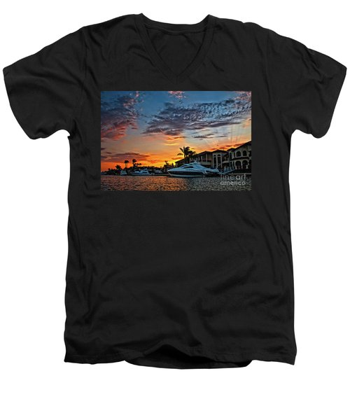 Sunrays Sunset Over Huntington Harbour Men's V-Neck T-Shirt