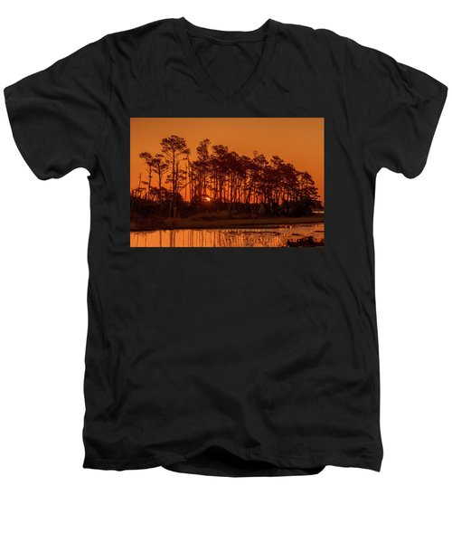 Sunrise Along A Tree Line Men's V-Neck T-Shirt
