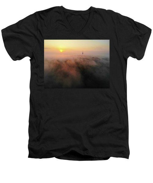 Men's V-Neck T-Shirt featuring the photograph Sunrise And Morning Fog Warm Orange Light by Matthias Hauser