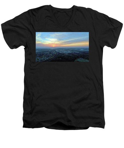 Sunrise At 400 Agl Men's V-Neck T-Shirt by Dave Luebbert