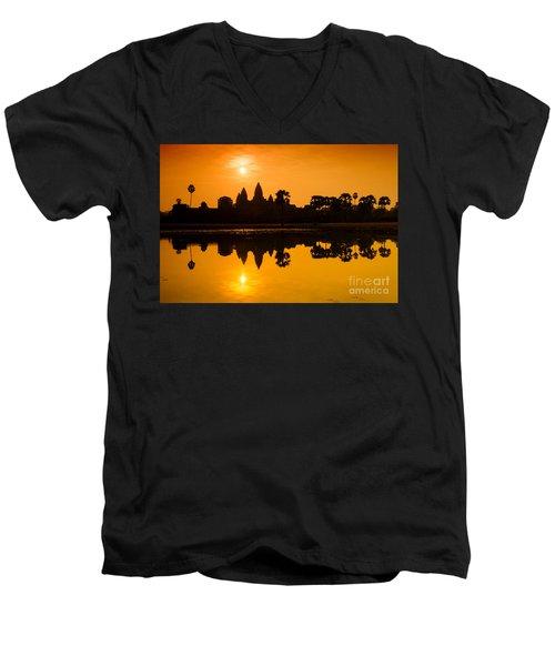 Sunrise At Angkor Wat Men's V-Neck T-Shirt by Yew Kwang