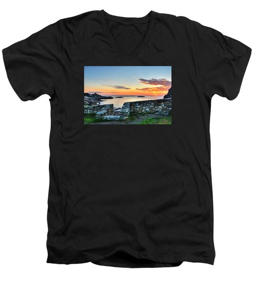 Sunrise At Castle Rock Marblehead Ma Men's V-Neck T-Shirt