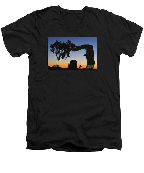 Sunrise At East Mitten Men's V-Neck T-Shirt by Jerry Fornarotto