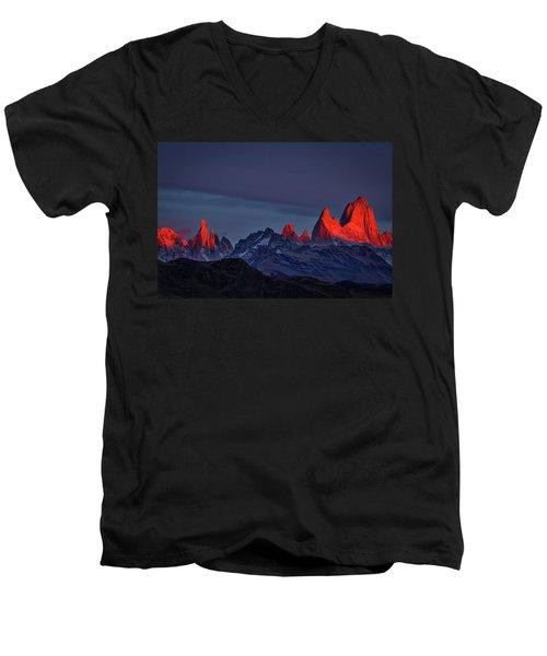 Sunrise At Fitz Roy #2 - Patagonia Men's V-Neck T-Shirt