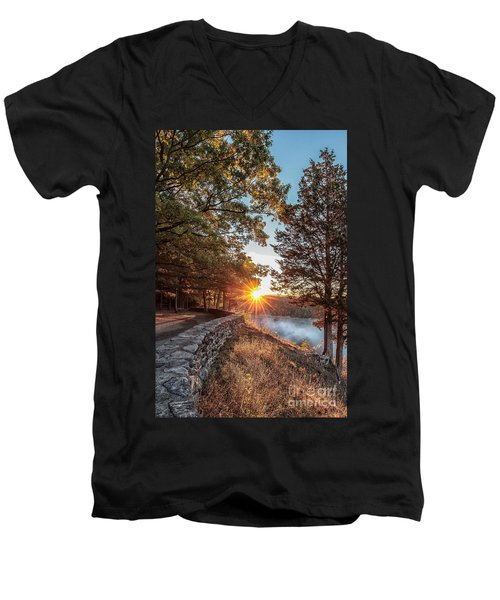 Sunrise At Great Bend Men's V-Neck T-Shirt