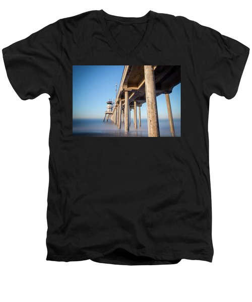 Sunrise At Huntington Beach Pier Men's V-Neck T-Shirt by Sean Foster
