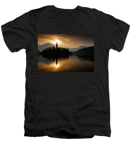 Sunrise At Lake Bled Men's V-Neck T-Shirt