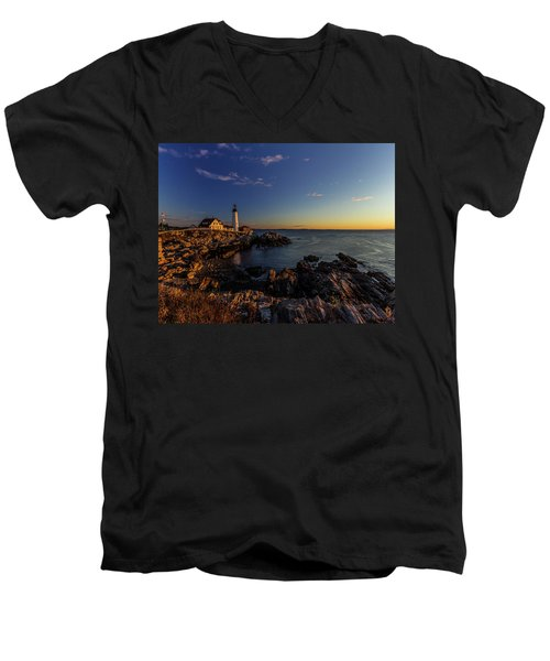 Sunrise At Portland Headlight Men's V-Neck T-Shirt