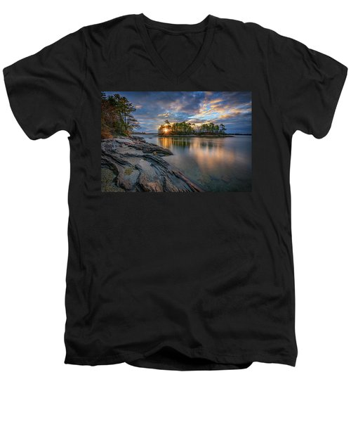 Men's V-Neck T-Shirt featuring the photograph Sunrise At Wolfe's Neck Woods by Rick Berk