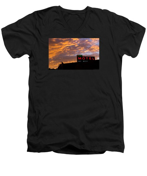Men's V-Neck T-Shirt featuring the photograph Sunrise Enters Capitola by Lora Lee Chapman