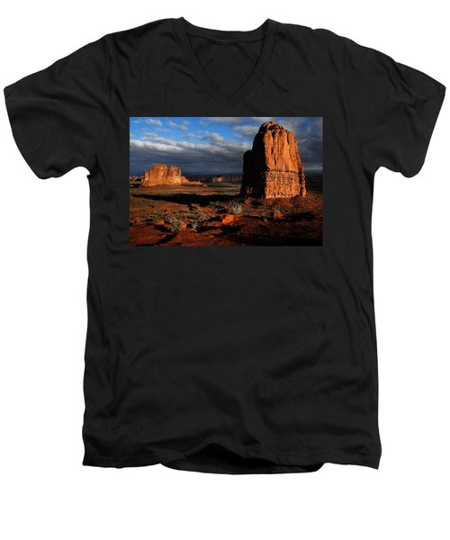 Men's V-Neck T-Shirt featuring the photograph Sunrise La Sal Mountains by Harry Spitz