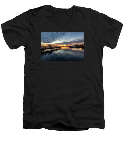 Men's V-Neck T-Shirt featuring the photograph Sunrise Less Davice Pier by Rob Green
