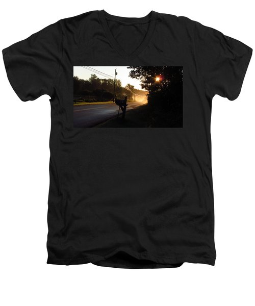 Sunrise On A Country Road Men's V-Neck T-Shirt