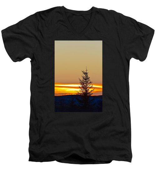 Men's V-Neck T-Shirt featuring the photograph Sunrise On A Sunday Morning by Dacia Doroff