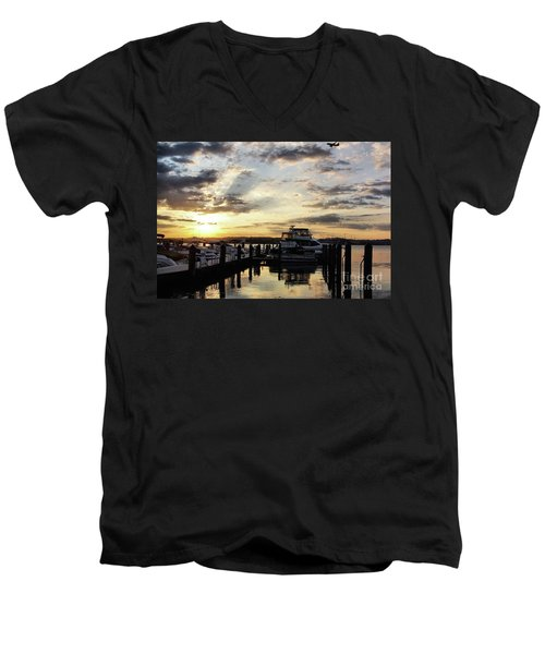 Sunrise On The Alexandria Waterfront Men's V-Neck T-Shirt