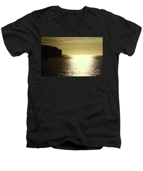 Men's V-Neck T-Shirt featuring the photograph Sunrise On The Almalfi Coast by Polly Peacock