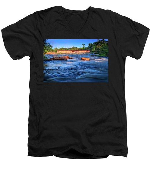 Sunrise On Watson Mill Bridge Men's V-Neck T-Shirt