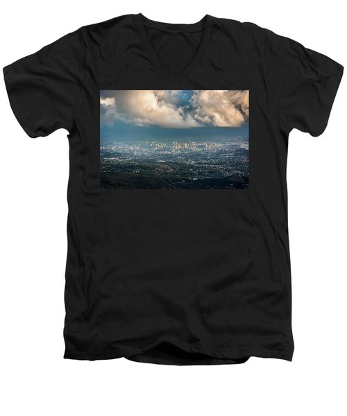 Men's V-Neck T-Shirt featuring the photograph Sunrise Over A Cloudy Brisbane by Parker Cunningham