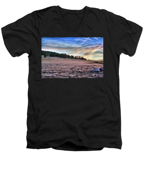 Men's V-Neck T-Shirt featuring the photograph Sunrise Over Ft. Apache by Lynn Geoffroy