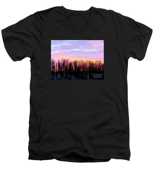 Sunrise Over Lake Men's V-Neck T-Shirt by Craig Walters