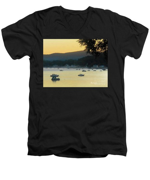 Sunrise Over Malletts Bay Panorama - Nine V2 Detail Men's V-Neck T-Shirt by Felipe Adan Lerma