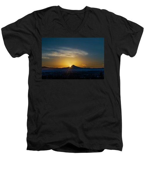 Sunrise Over Mt. Hood Men's V-Neck T-Shirt