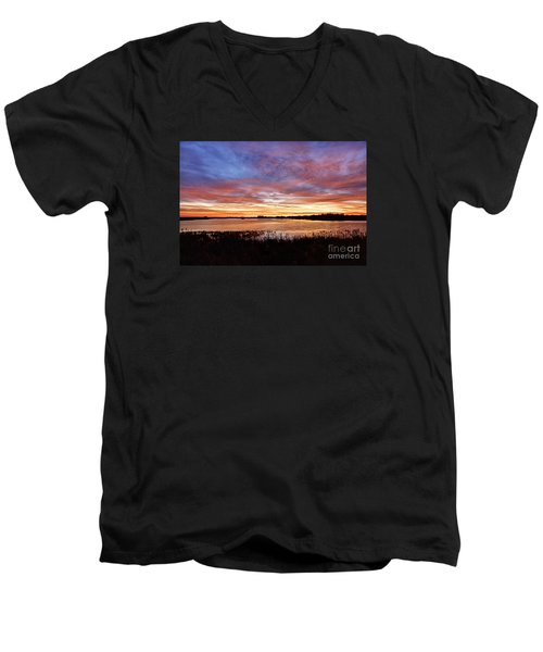 Men's V-Neck T-Shirt featuring the photograph Sunrise Over The Marsh by Larry Ricker