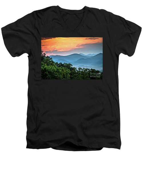 Men's V-Neck T-Shirt featuring the photograph Sunrise Over The Smoky's by Douglas Stucky