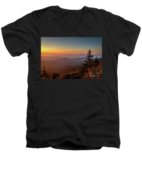 Men's V-Neck T-Shirt featuring the photograph Sunrise Over The Smoky's V by Douglas Stucky